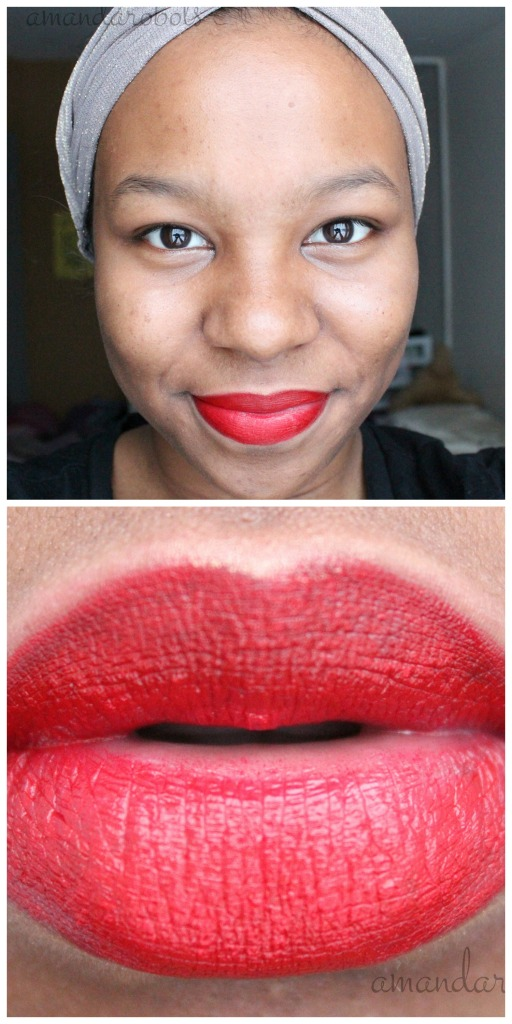 Red Lipstick on Dark NW 45 Skin