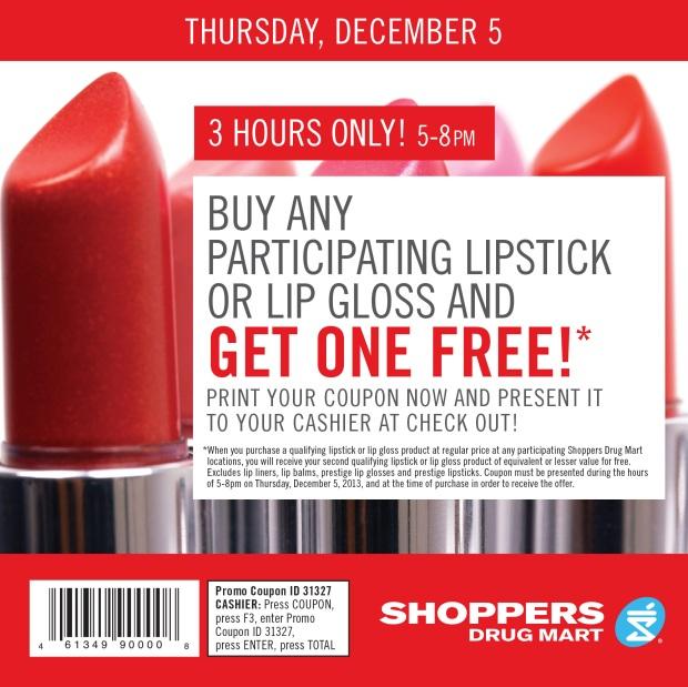 Shoppers Drug martBOGO Lip Colour offer Coupon Dec5