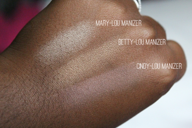 The Balm Highlighters swatches